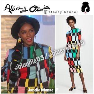 Alice + Olivia Delora Fitted Mock Neck Dress 0